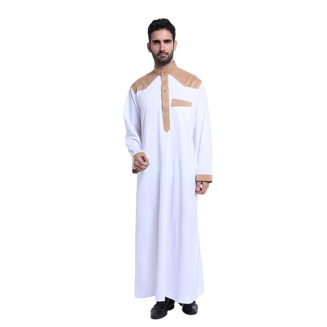 Moda vestuário Muçulmano para Homens Mens Homem roupas Jubba Branco Thobe Abaya Árabe Kaftan vestuário Islâmico Arabe Ropa hombre