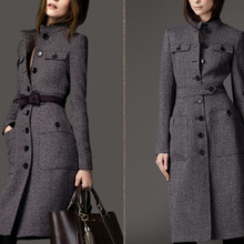 Winter Wool Coat Women Long Sleeve Outwear Jacket Casual Autumn Elegant Plus Size