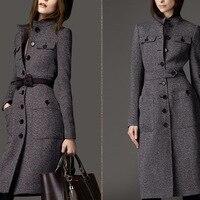 Winter Wool Coat Women Long Sleeve Outwear Jacket Casual Autumn Winter Elegant Long Coat Plus Size