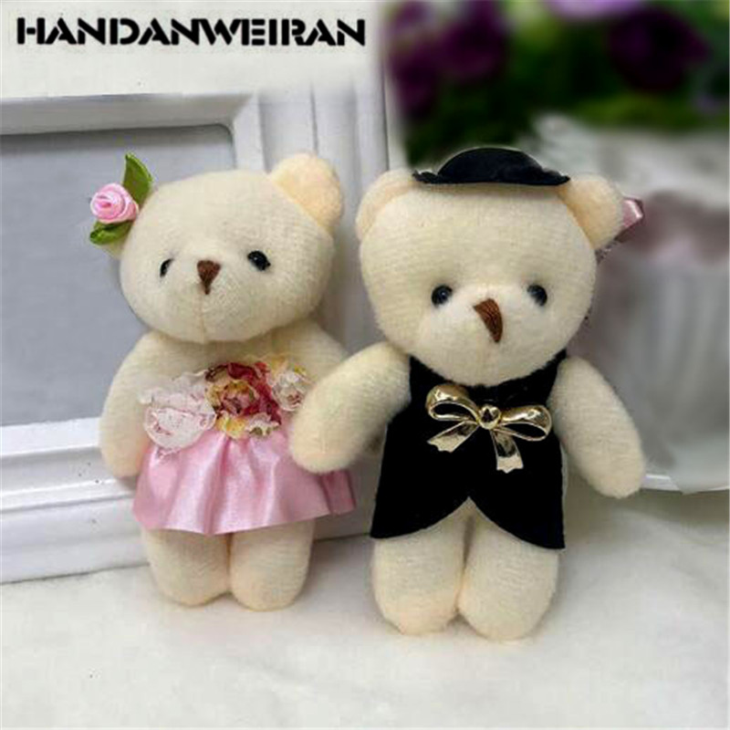 2PCS Hot NEW Lover Plush Bear Toys Small Pendant Wholesale Couple Wedding Bouquet Bears Soft Stuffed Toy For Kids Gifts 11CM