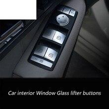 Car interior Window Glass lifter button sequins Chrome ABS 3D stickers for Mercedes Benz CLA GLA ML GL GLE GLS A,B,C,E class