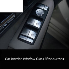 Samochód okno wewnętrzne podnośnik szyby przycisk cekiny Chrome ABS 3D naklejki dla Mercedes Benz CLA GLA ML GL GLE GLS A, b, C, E klasa