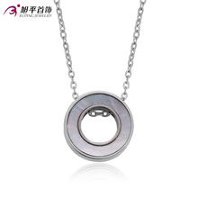 2017 New Arrival Silver Plated Stainless Steel Necklace Female Fashion Round Charm Pendant Engagement Gift Party Jewelry C01713