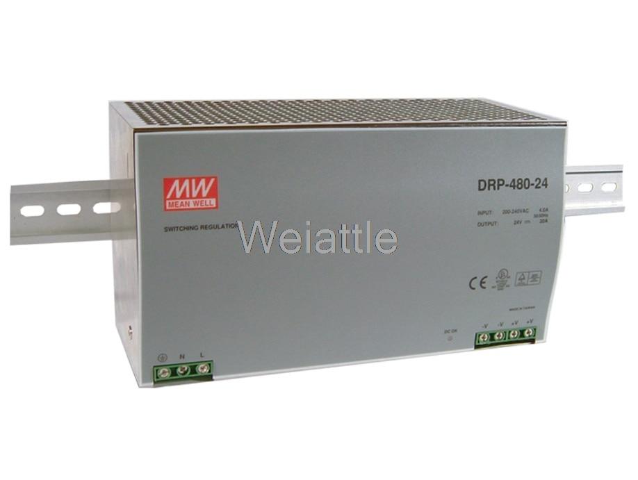Moyenne bien DRP-480-48 48 V 10A 480 W DRP-480-24 24 V 20A simple sortie commande industrielle DIN Rail alimentation PLC PFC