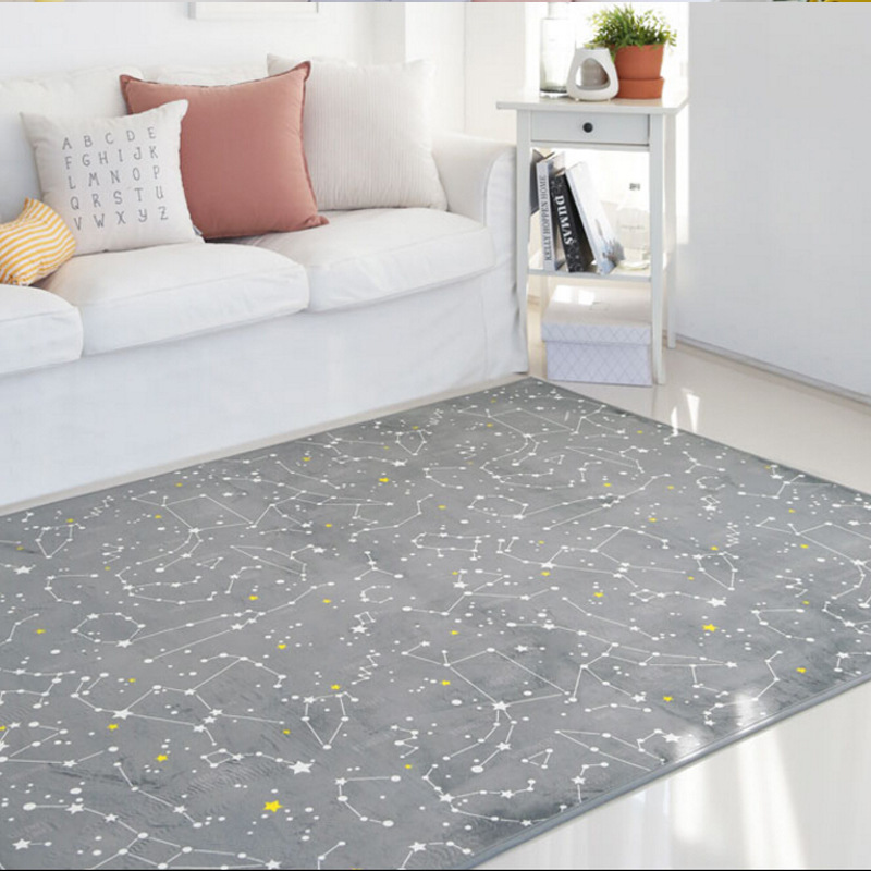 Night Sky Constellation Star Printed SML Size Grey Black Carpet For Living Room Sofa Tea Table Bedside Bedroom Rug