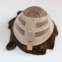 Eversilky Multi Цвет натуральные волосы мужская часть волос тупею Замена Системы Волосы remy Небольшие волны моно + поли связь