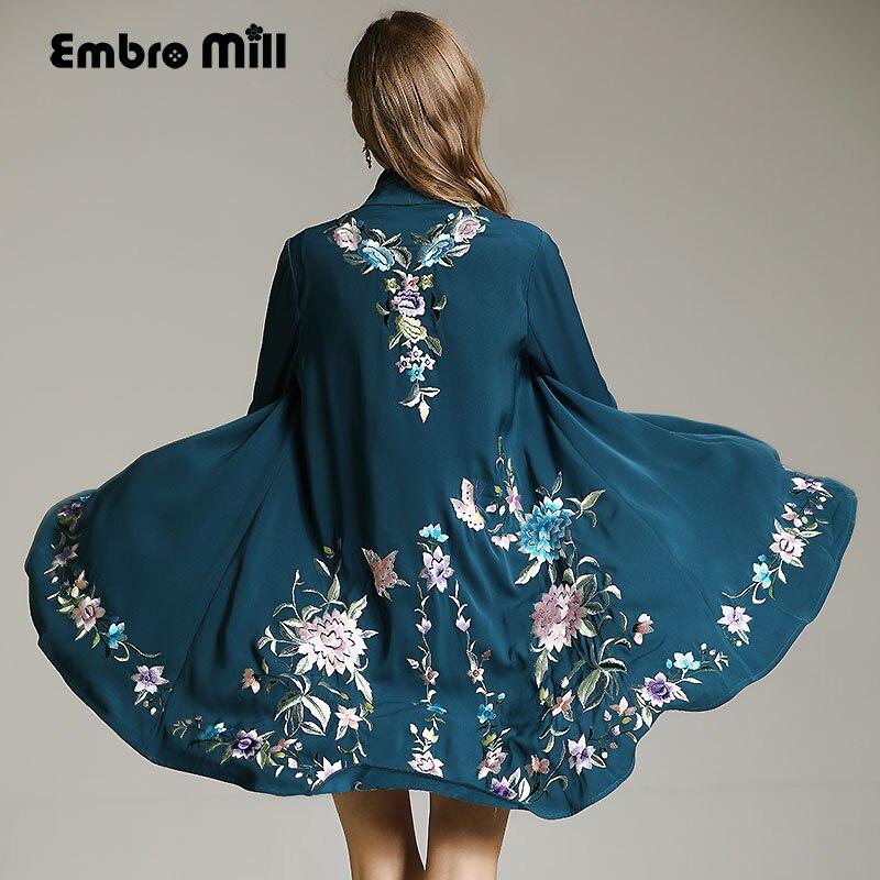 Vintage autumn royal embroidery windbreaker women runway elegant loose lady plus size open stitch   trench   coat female M-XXXL