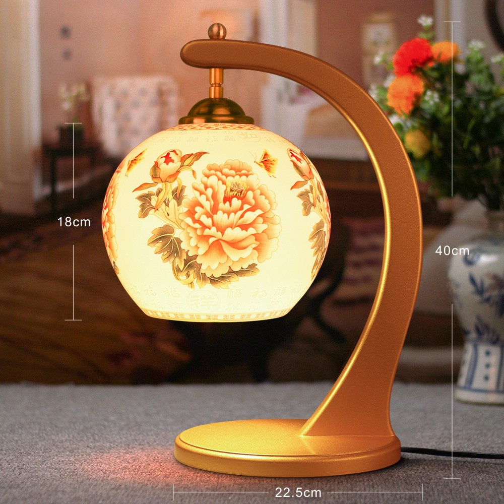Antique Lamp Living Room Retro Golden Table Lamp Study ...