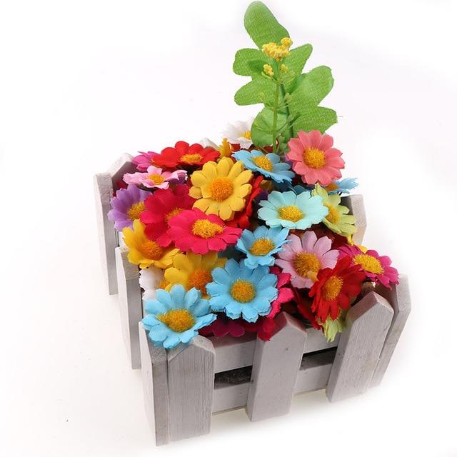100PC/lot  2.5cm Mini Daisy Decorative Flower Artificial Silk Flowers Party Wedding Decoration Home Decor(without stem) Cheaper 5