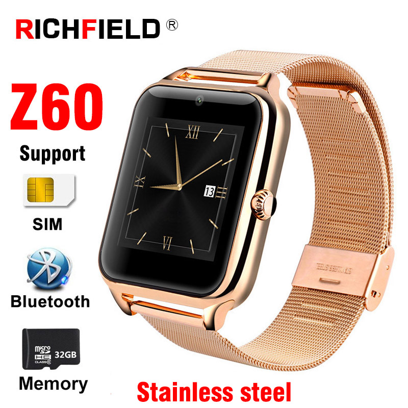 Z60 Sport Smart watch SIM Card Men Bluetooth Call Stainless Steel Phone Watches Health Wristband Women