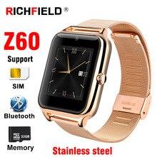 Z60 Спорт Смарт часы sim-карты Для мужчин Bluetooth вызова Нержавеющаясталь телефон часы здоровья браслет Для женщин Smartwatch Android IOS