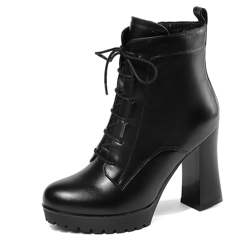 FEDONAS 1 moda kobiety botki prawdziwej skóry jesień zima ciepłe wysokie obcasy buty krzyż wiązanej platformy wysokiej jakości buty kobieta w Buty do kostki od Buty na  Grupa 2