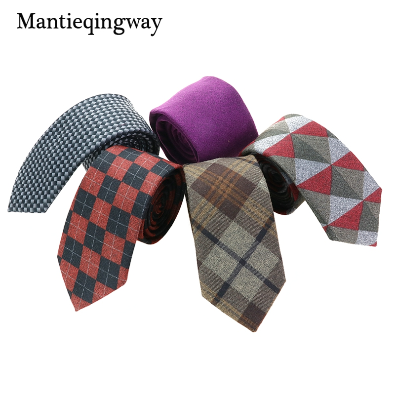 Mantieqingway Cashmere Neck Ties for Men Skinny Plaid Ties for Men - Accesorios para la ropa