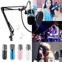 HOT BM 700 PC Microphone Kit Computer Studio Recording Broadcast Condenser Microphones Shock Mount Arm Stand Pop Filter Drop shi