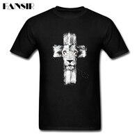 XS 3XL Lion of Judah Jesus Cross Lion Casual Tee Shirt Man Short Sleeve Crewneck Cotton Men T Shirt Family Clothing