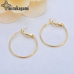 Golden Plating Hoops Earrings Round Circle Ear Wire Hoops Earrings 25mm 10pcs/lot For DIY Earrings Jewelry Accessories