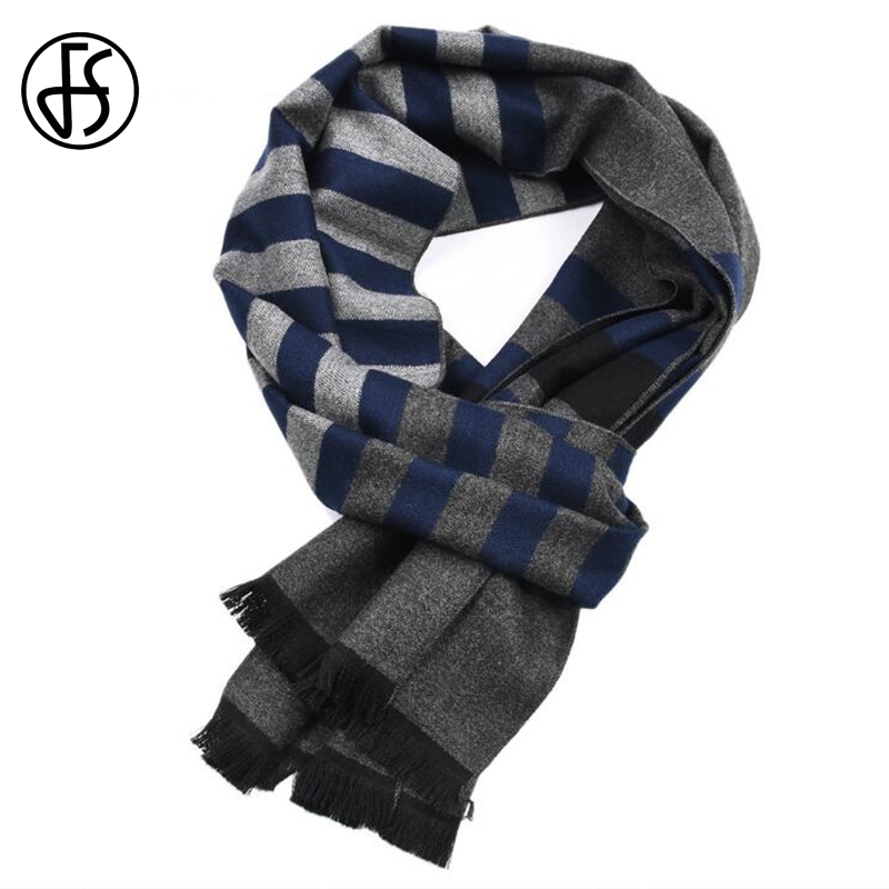 FS Winter Cashmere Striped   Scarf   Men Tassel   Scarves     Wrap   Shawl Echarpe Homme Fantaisie Geometric Long Double Sided Pashmina 2018