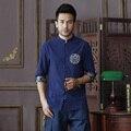 Summer New Navy Blue Men's Cotton Linen Shirt tops Vintage Chinese Kung Fu Short Sleeve Shirt Tang Suit Size S M L XXL XXXL D10