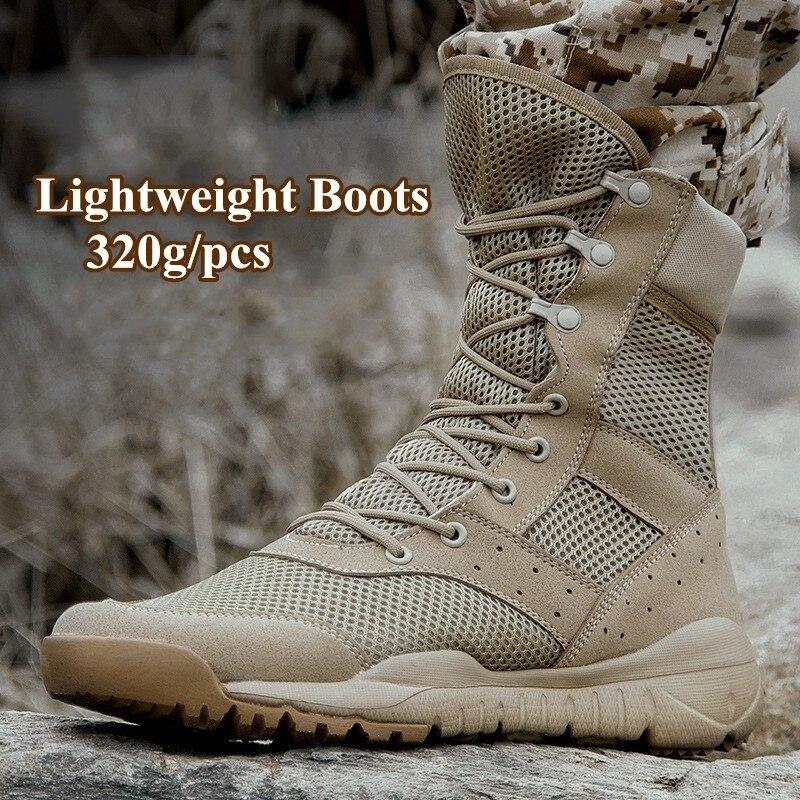 35-47 beden erkekler kadınlar Ultrallight açık tırmanma ayakkabı taktik eğitim asker botu yaz nefes örgü yürüyüş çöl önyükleme