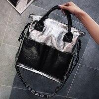 ETAILL Women Patchwork Shoulder Bag Big Pockets Top Handle Crossbody Bag Fashion Design Tote Bag Letter Wide Strap Messenger Bag