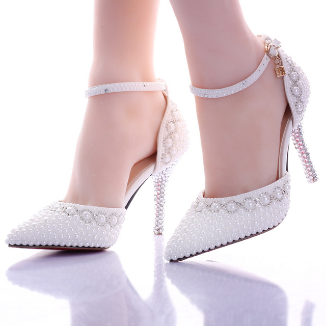 Wedding Heels White Pearl Rhinestone Shoes Ultra High Thin Pointed Toe Bridal