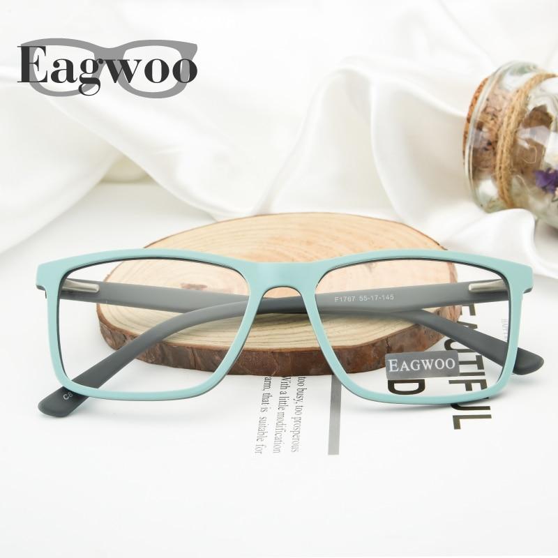 Eagwoo Men Vintage Eyeglasses Frame Prescription Big Window Super Light Optial Frame Wide Face Glasses Simple Spectacle 1767