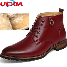 Winter British Style Winter Martin Pointed Toe Cotton Men's Shoes Plus Thermal Business Leather Ankle Boots Men Botas Chaussures