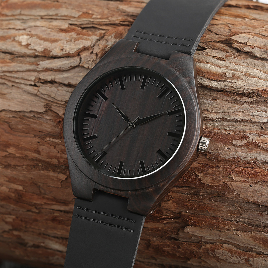 hand-made watch_  Trendy Full Black Males's Ebony Wooden Watch Quartz Hand-made Bamboo hombre Wristwatch with Real Leather-based Watchband Present for Males HTB13UBnknJ SKJjSZPiq6z3LpXaj
