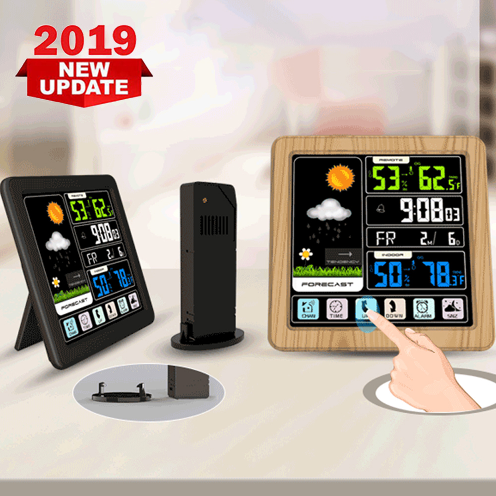 full-touch-screen-color-screen-wireless-weather-clock-usb-indoor-and-outdoor-temperature-and-humidity-meter-alarm-clock