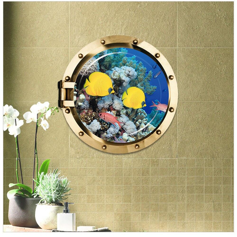 3d Sticker Ocean View Fish Window Wall Sticker Bathroom Decals Sea Portal Peel Stick Sea Cruise Wall Art for kids Home Decor