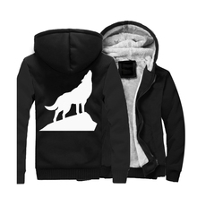 2019 New Style Wolf Hoodies Long Sleeve Black Warm Animal Hooded Harajuku Sweatshirts Winter Jackets Hip Hop Zipper Cost CM01