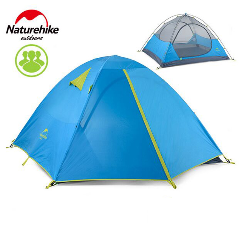 Naturehike Outdoor Camping Tent 2 or 3-4 Person Double Layer Tents for Hiking Travelling Playing Party Event House Beach Tent hewolf 2persons 4seasons double layer anti big rain wind outdoor mountains camping tent couple hiking tent in good quality