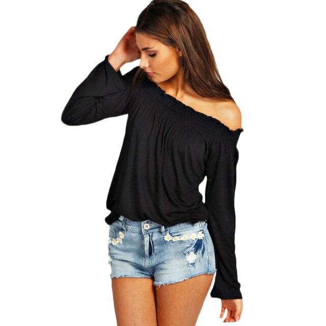 01108593f155 € 7.49 |2018 moda mujer blusa casual sólido cuello Blusas Camisas Primavera  Verano manga larga Camiseta suelta mujeres Tops blusas en Blusas y camisas  ...