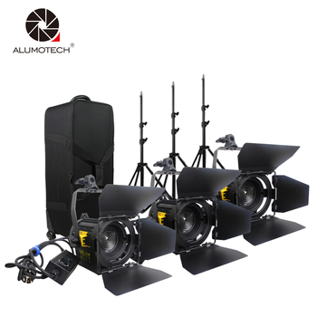 ALUMOTECH LED Fresnel Spot Light 20WX3+StandX3 Kit For Camera Video Studio Photography LED Supporting Dimming Lamp