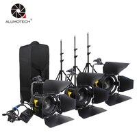 ALUMOTECH 3 Unit 20W LED Fresnel Spot Light Stands Kit For Camera Video Studio Photography