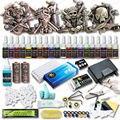 Alta calidad 4 alivio ametralladoras del tatuaje Kits de tatuaje 20 colores tintas fijaron Top potencia de la fuente de los accesorios