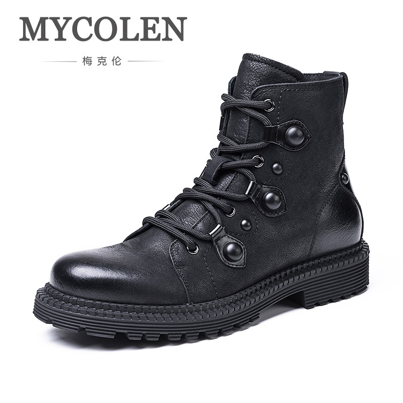 MYCOLEN Warm Winter Men Boots Leather Casual Lace Up Snow Boots Men Ankle Boots Men Working Boots For Men coturnos masculino
