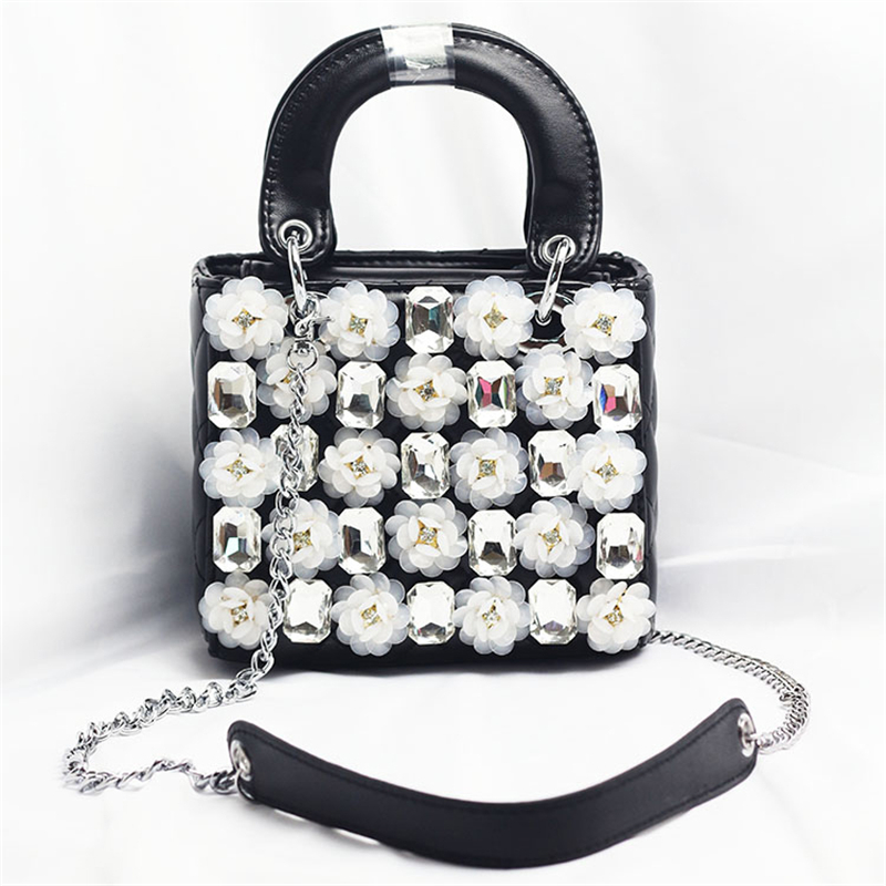 Women Crystal Totes Luxury Flower Shoulder Messenger Bags Women Leather Handbag Bridal Wedding Rhinestone Evening Party BagsWomen Crystal Totes Luxury Flower Shoulder Messenger Bags Women Leather Handbag Bridal Wedding Rhinestone Evening Party Bags