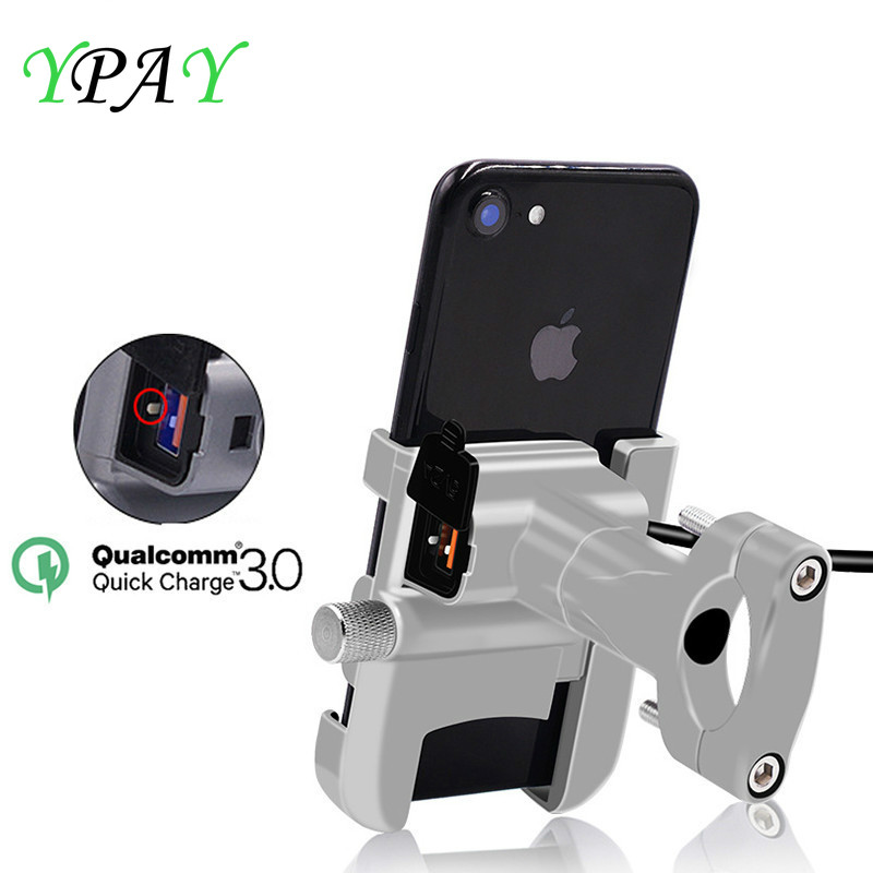 YPAY Aluminum QC3.0 Fast Charge Motorcycle Phone Holder Moto Handlebar Rearview Bracket Stand For 4-6.2 Inch Mobile Phone Mount