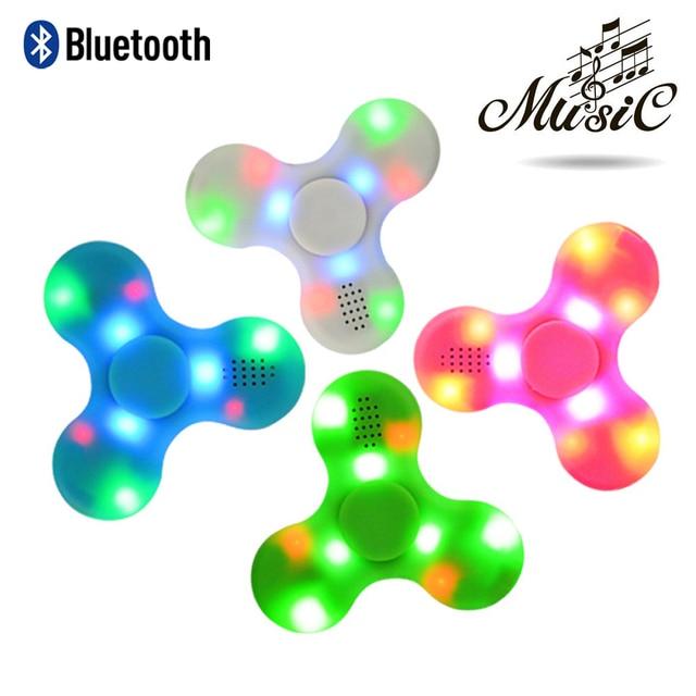 Непоседа Spinner Led Динамик Bluetooth Руку Spinner Tri волчок декомпрессии палец spiner игрушки розовый синий зеленый белый