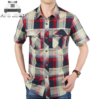 AFS JEEP MEN SHIRTS SHORTS COTTON CASUAL FASHION PLAID MEN SHORTS SHIRTS PLUS SIZE S 4XL