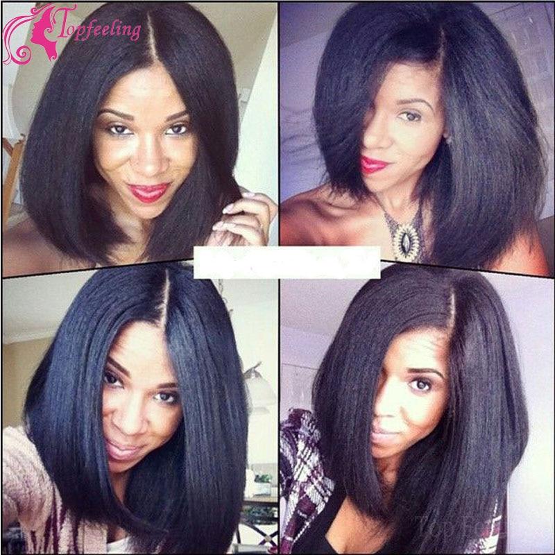 Italian Yaki Full Lace Wig Bob Virgin Brazilian Human Hair