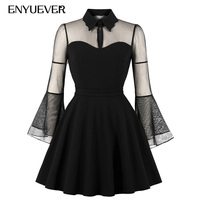 Enyuever Black Casual Dress Plus Size Swing Flare Sleeve Jurken Vestidos Transparent Robe Vintage Halloween Party Gothic Dress