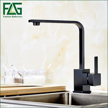 FLG single handle kitchen mixer tap.deck mounted black kitchen faucet. Hot Cold Mixer Water Sink Taps