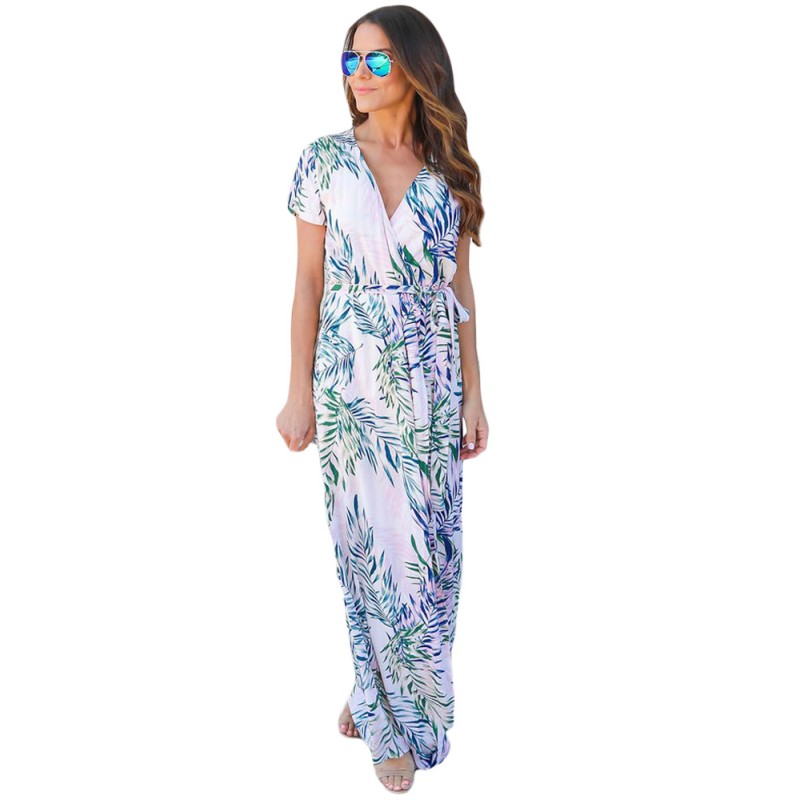 YSMARKET Tropical print dress 2017 new hot v neck wrap maxi long summer dresses for women bohemia style straight casual D61542