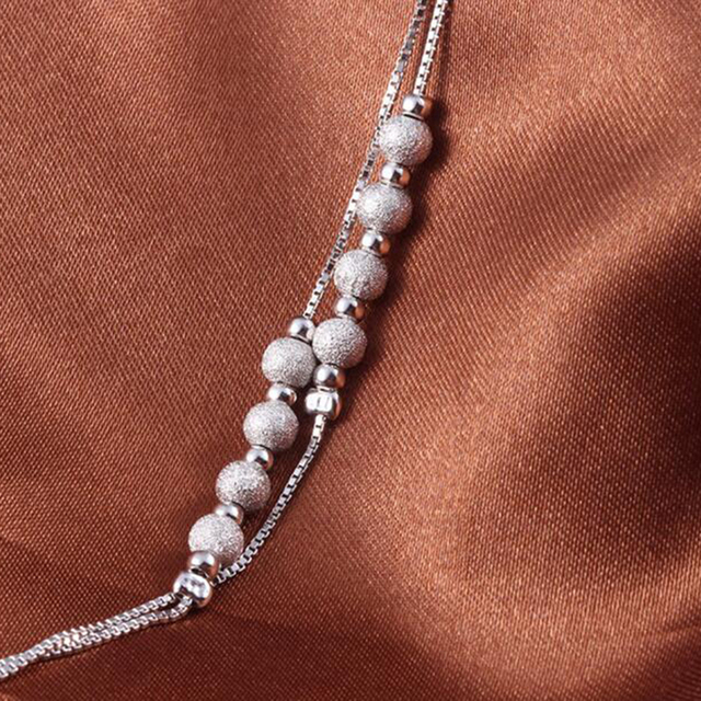 Sinya 925 Sterling Silver lucky beads Anklets for Women Girls lover gift 22cm+5cm korean creative features matte beads design