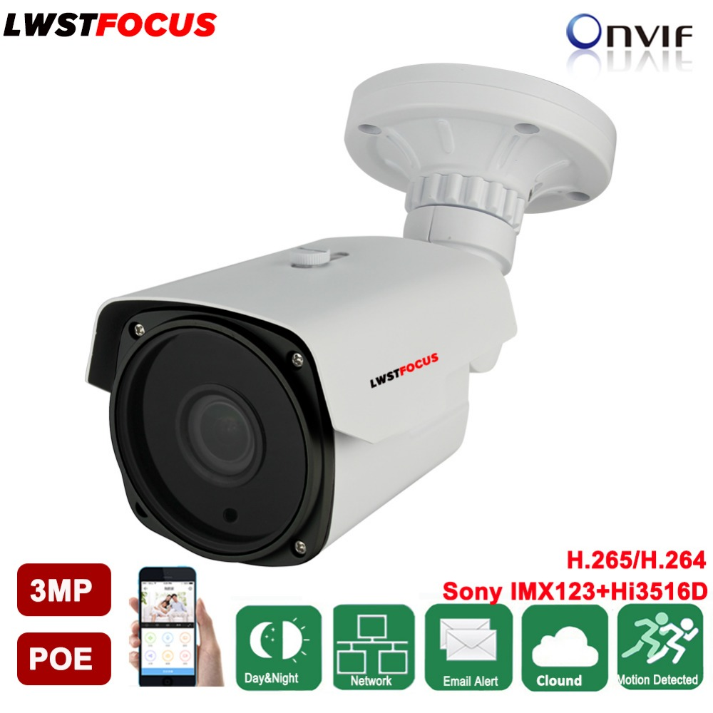 LWSTFOCUS PoE IP Camera 3MP Array Led Night Vision IR 60M Outdoor Bullet Style Full HD 1080P IP66 Rated Housing ONVIF 4MP lens outdoor waterproof white metal case 1080p bullet poe ip camera with ir led for day