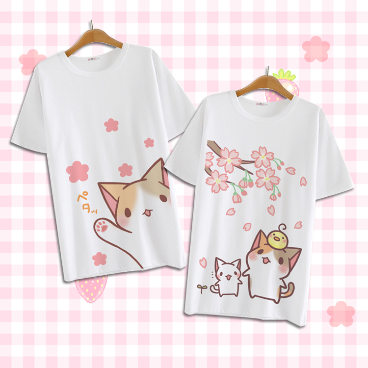 Summer Harajuku Shirt Neko Atsume Anime Cartoon Japanese Kawaii Clothes Casual Female T shirt Cat Tops