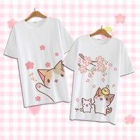Summer Harajuku Shirt Neko Atsume Anime Cartoon Japanese Kawaii Clothes Casual Female T shirt Cat Tops Tee