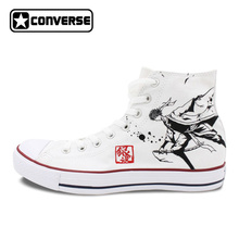 White Sneakers All Star Converse Men Women Shoes Anime Gintama Design Hand Painted Shoes Boys Girls
